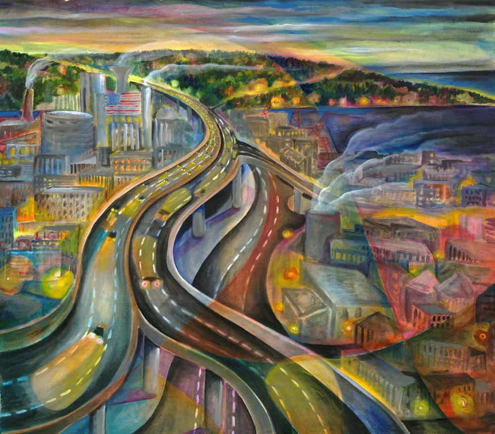 """""""West Seattle Viaduct"""", acrylic on canvas, 32""""x28"""", 2004"""