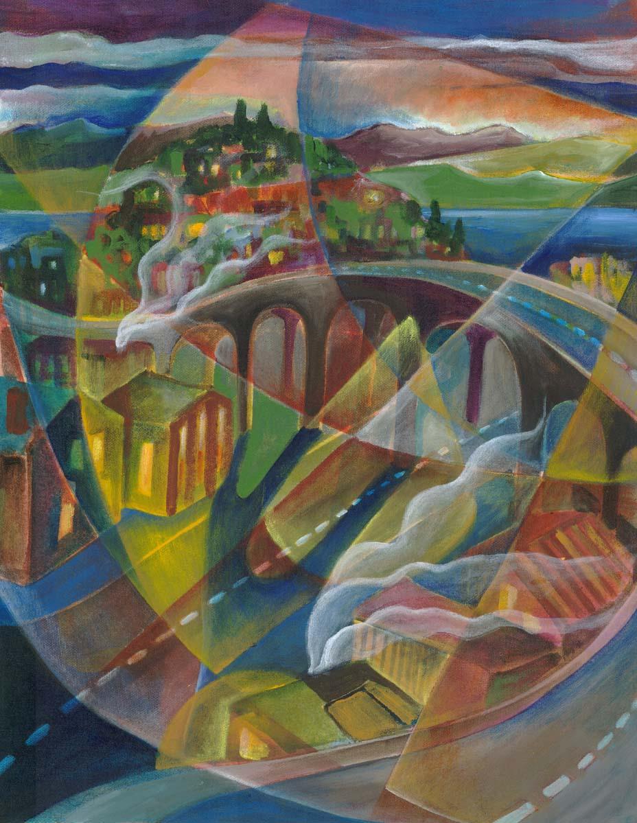 """Magnolia Viaduct"", acrylic on canvas, 16""z24"", 2004"