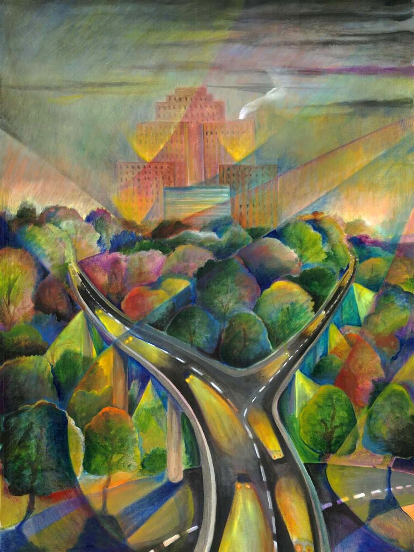 """Amazon Building"", acrylic on canvas, 24""x30"", 2004"