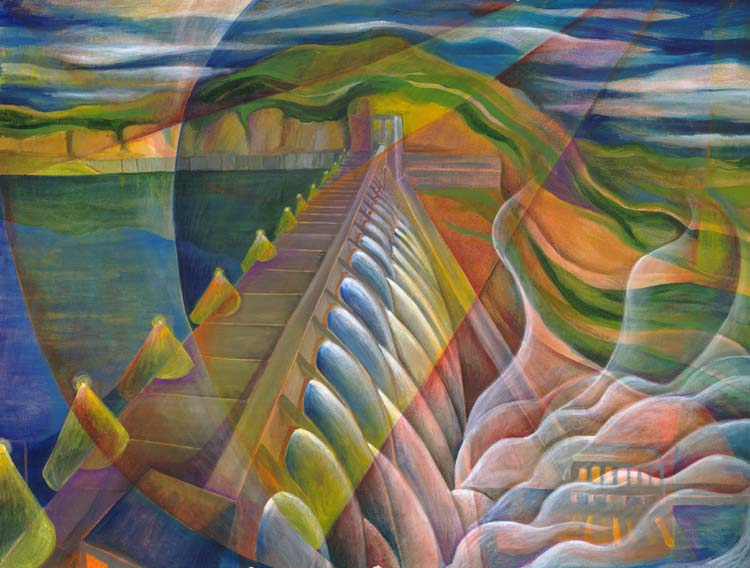 """""""Grand Coulee Dam"""", acrylic o canvas, 30""""x26"""", 2004"""