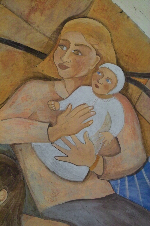 """Mimma and Sofia"", detail, fresco on stone wall, 1996"