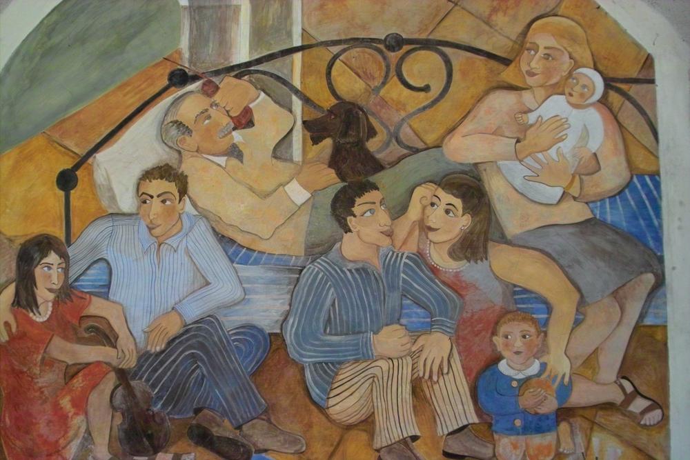 """""""Family Fresco"""", fresco on stone wall, 10'x10', 1996, Sparone, Italy"""