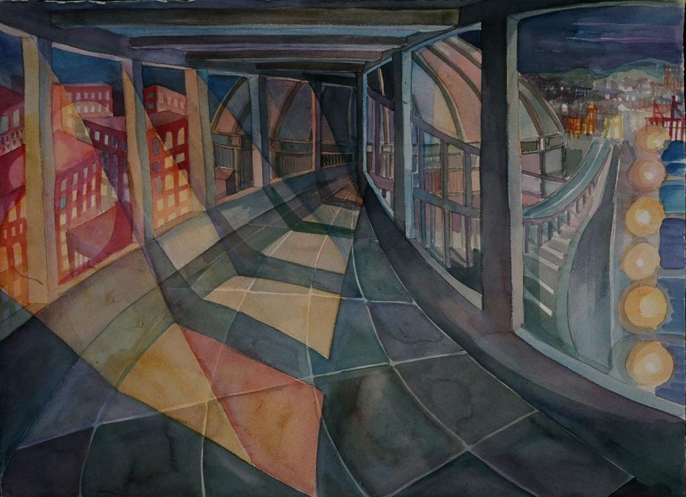 """""""Highway 99"""", watercolor, 18""""x14"""", 1995"""