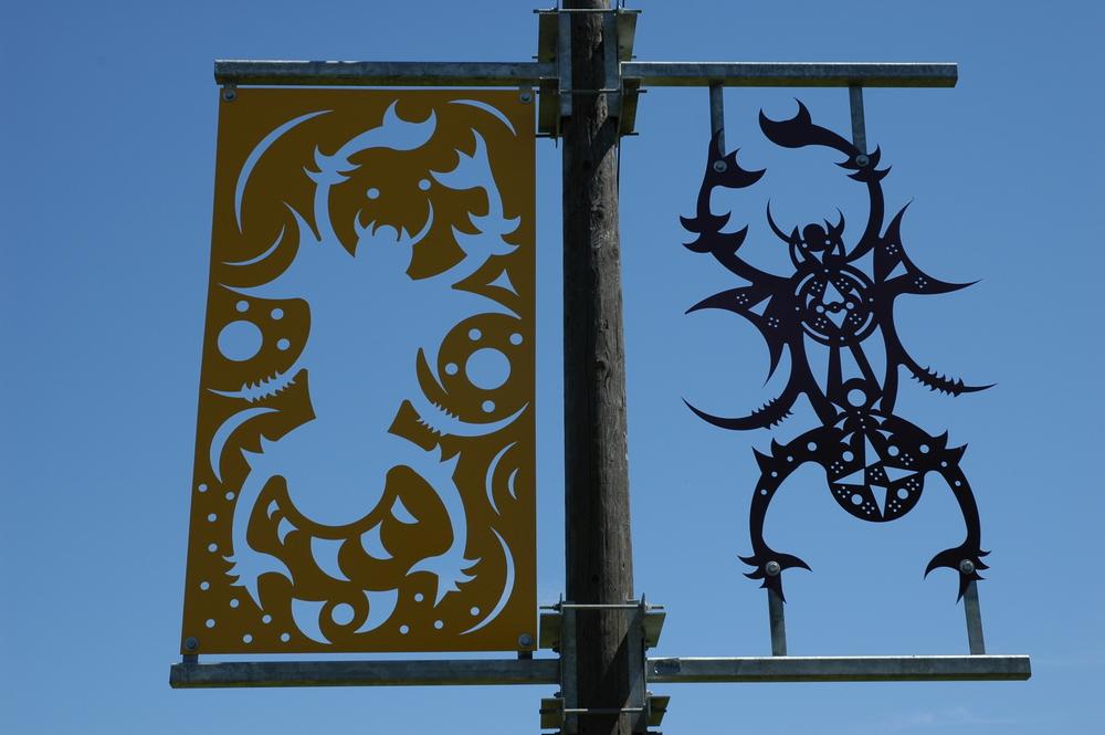 """""""Othello Park Banner, Spider"""", laser cut steel, 10'x8', 2002"""