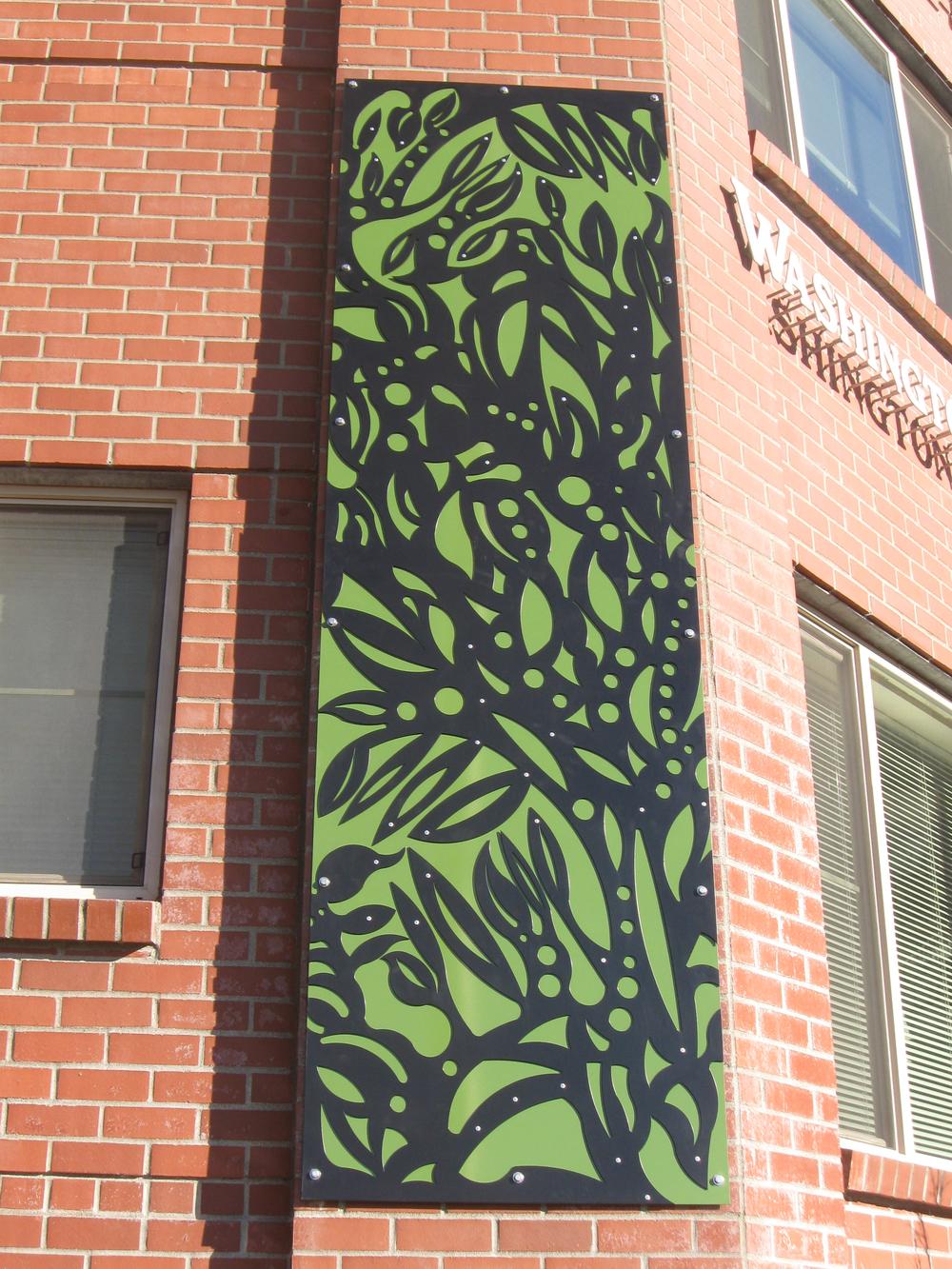 """Terrace Apartments Bamboo Panel"", laser cut steel, 4'x12', 2010"