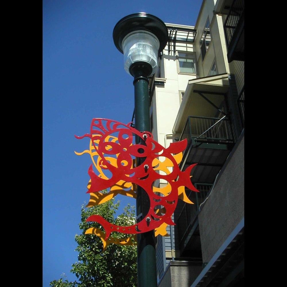 """""""Rainier Court Koi Fish Banner"""", laser cut steel, 4'x6', 2003"""