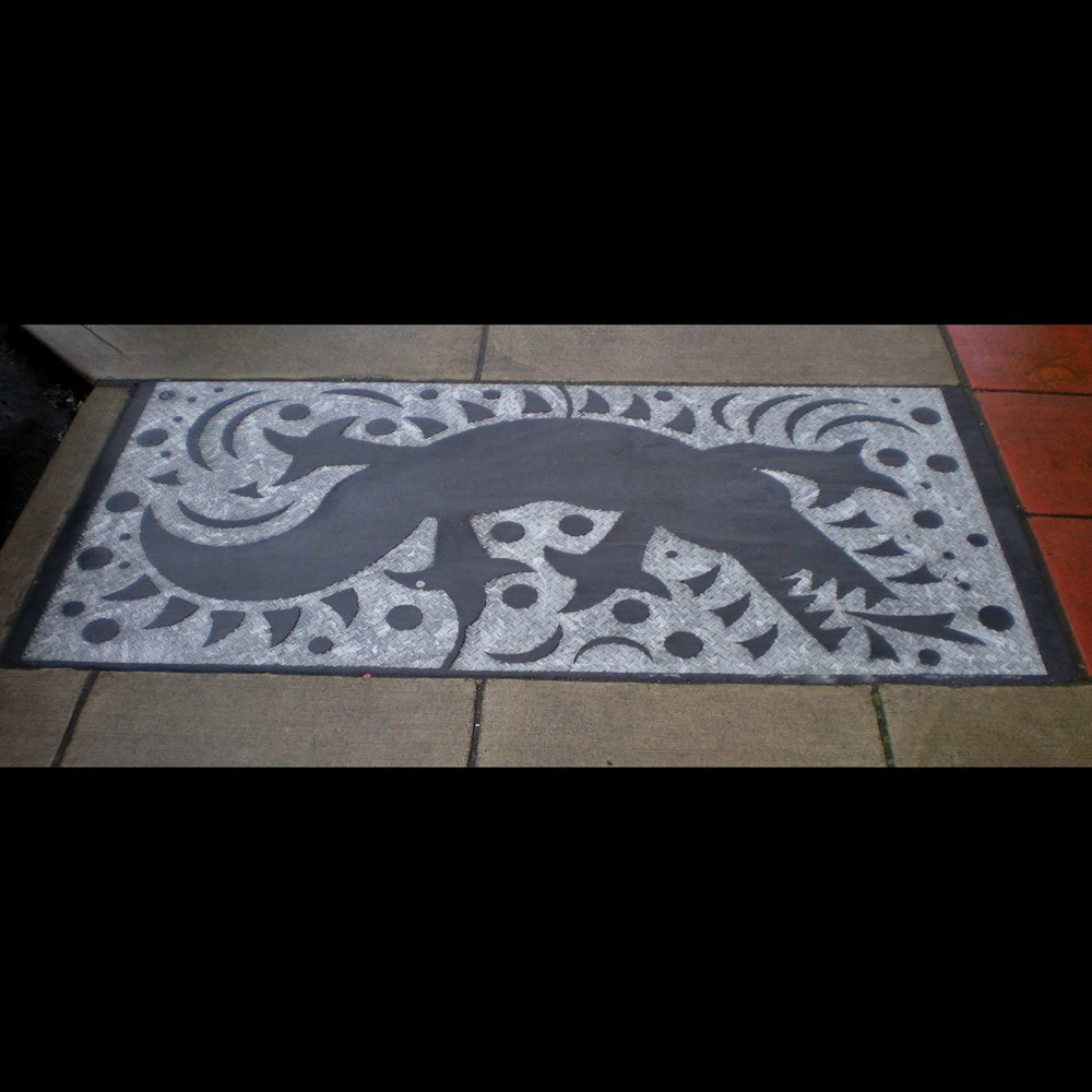 """Rainier Court Crocodile"", lase cut industrial steel plate, 4'x8', 2002"