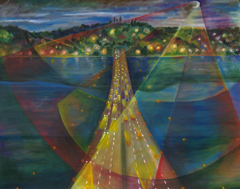 """I90 Bridge"", acrylic on canvas, 32""x 27"", 2004"