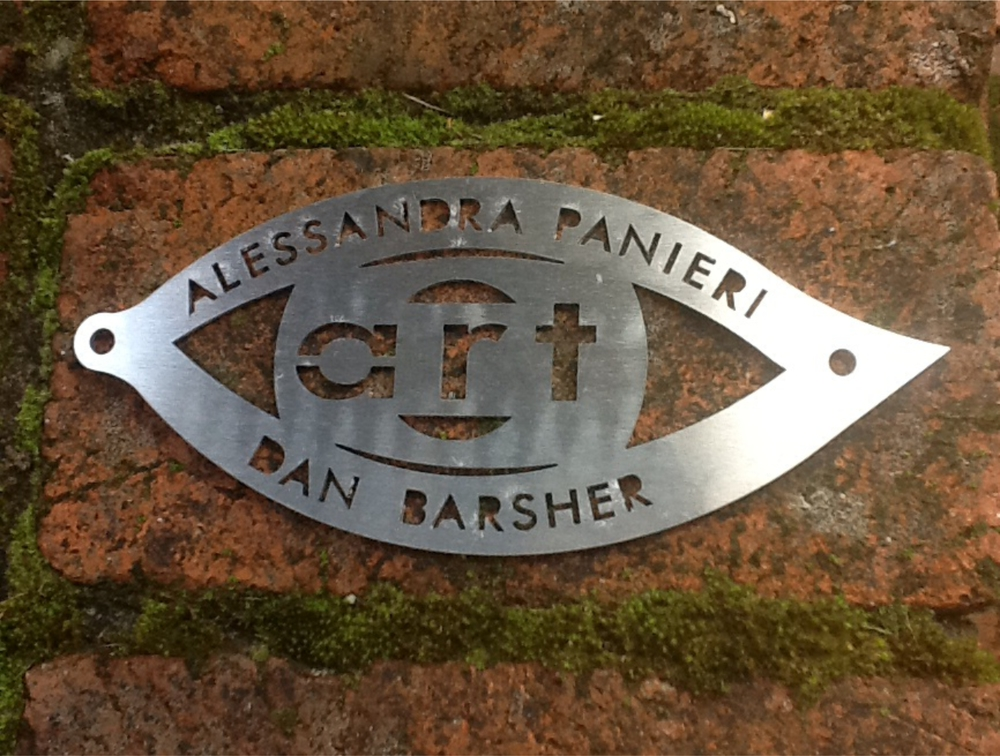Finally we will be able to put our names to our artwork. We have made stainless steel signature tags to rivet to the metalwork,