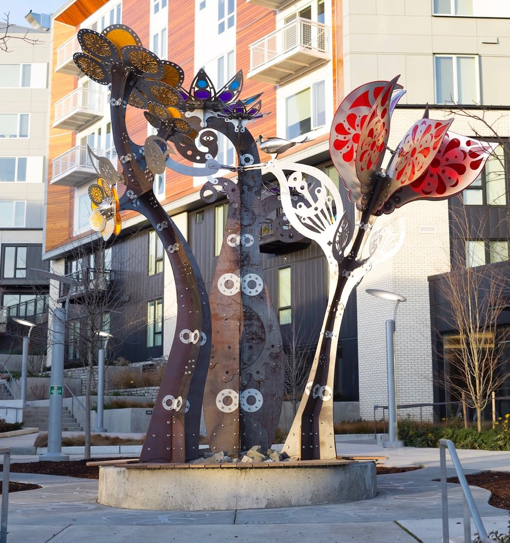 Yesler Blossoms, steel, aluminum and acrylite, 2018