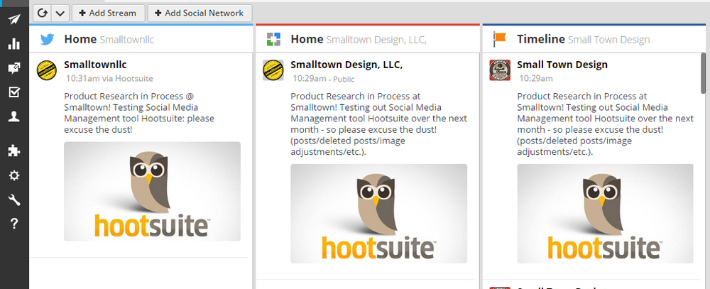 Update: Initial scheduled post through Hootsuite to 3 Smalltown Design social media accounts.