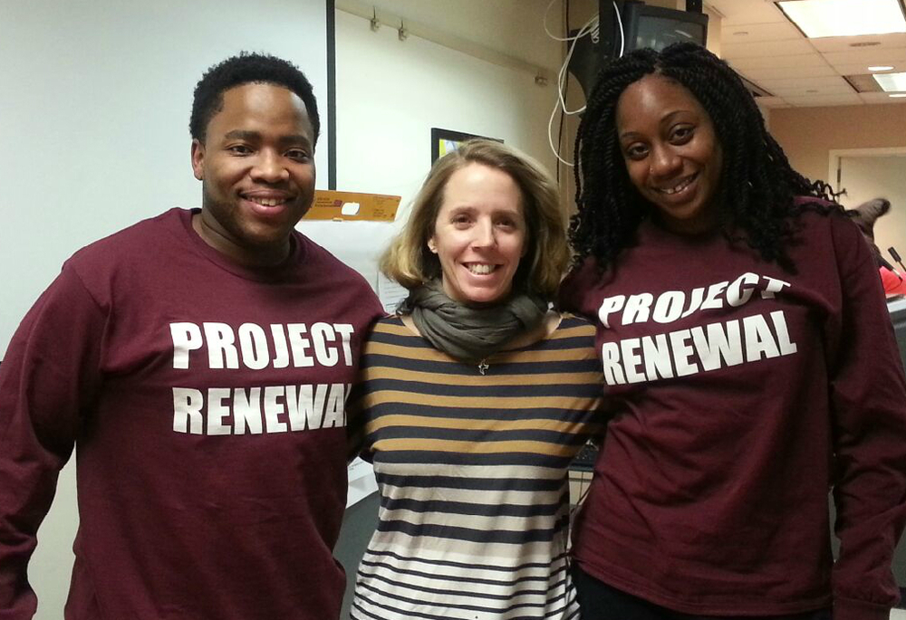 Left to right:  Aluta Khanyile (Assistant Director, Project Renewal's Third Street Men's Shelter), Christy Parque (Executive Director, Homeless Services United) and Elizabeth Fasanya (Case Manager Project Renewal, In Homes Now)