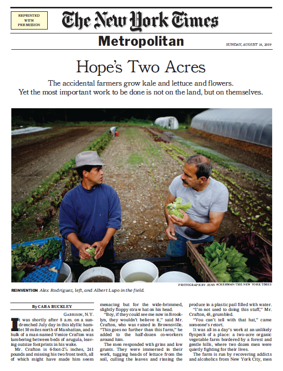 New York Times, August 16, 2009, Renewal Farm