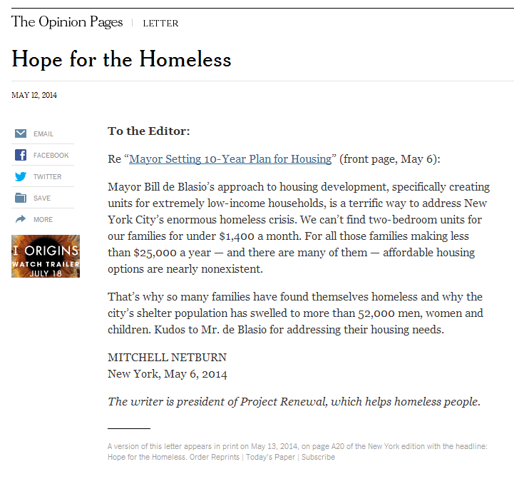 New York Times, Letter to the Editor May 12, 2014 by President & CEO Mitchell Netburn