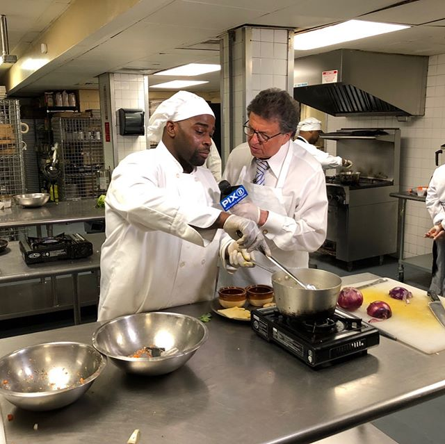 Tune in to @pix11news tonight at 10 PM to see Mr. G's visit to our Culinary Arts Training Program! Students shared the valuable kitchen skills they are gaining through the program. CATP currently trains 150 students each year, and 85% of graduates have been placed successfully in culinary jobs throughout New York City, including at @delposto, where Mr. G visited a few of our working grads.