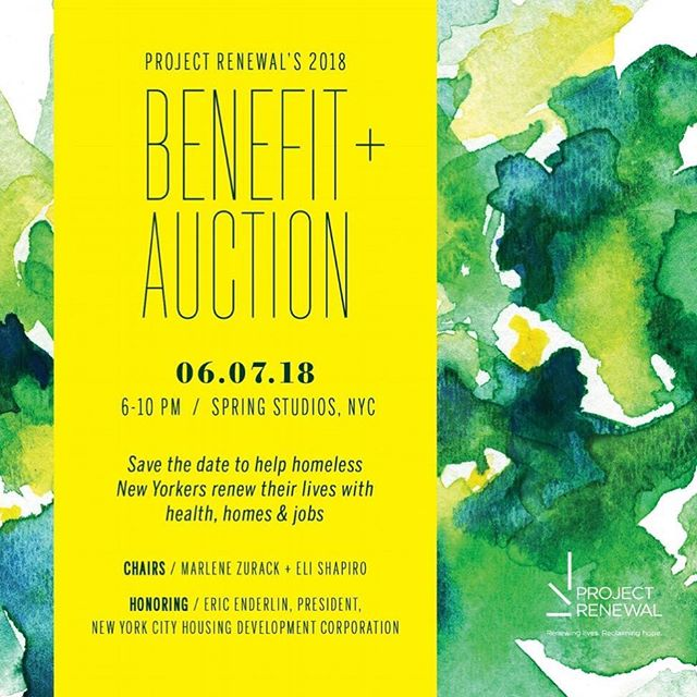 Please join us on Thursday, June 7 for our 2018 Benefit + Auction! This event supports Project Renewal's health, homes, and jobs programs. And don't forget to continue the celebrations at the Junior Board's Afterparty! More information and tickets can be found in the link in our bio.