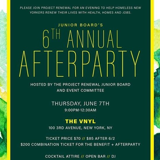 Our 2018 Benefit + Auction is this Thursday, June 7, and so is the Junior Board Afterparty! The Afterparty includes an open bar and DJ. Please join us for an evening to help New Yorkers facing homelessness renew their lives with health, homes and jobs.  Learn more about the evening and purchase tickets through the link our bio.
