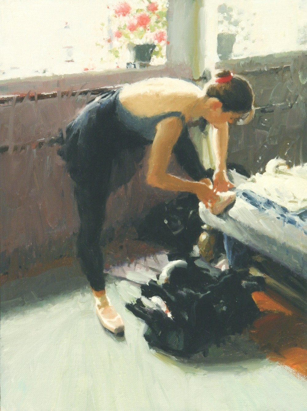 Tying Her Pointe Shoe