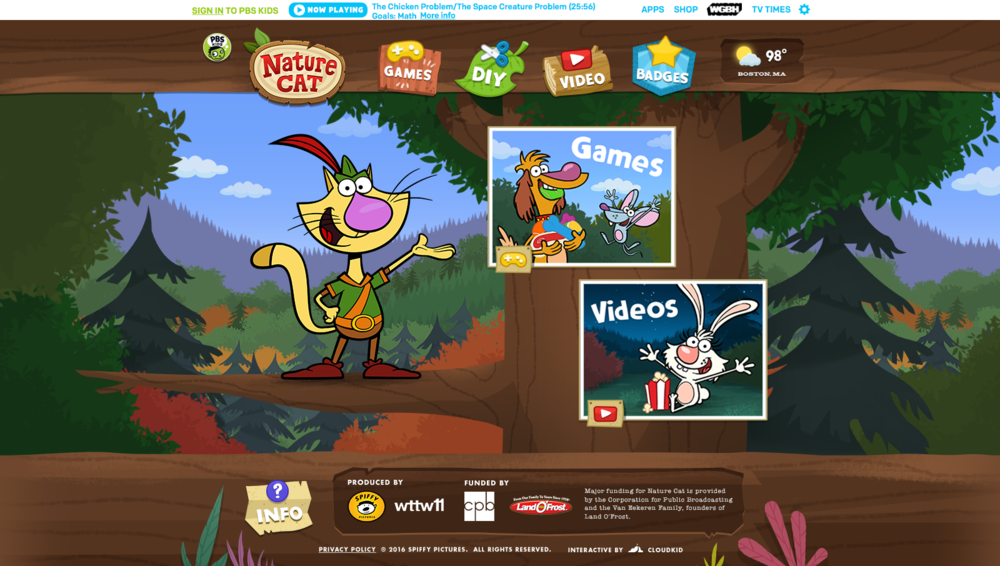 Home Page: Nature Cat swings onto the tree knocking the promos down into place.