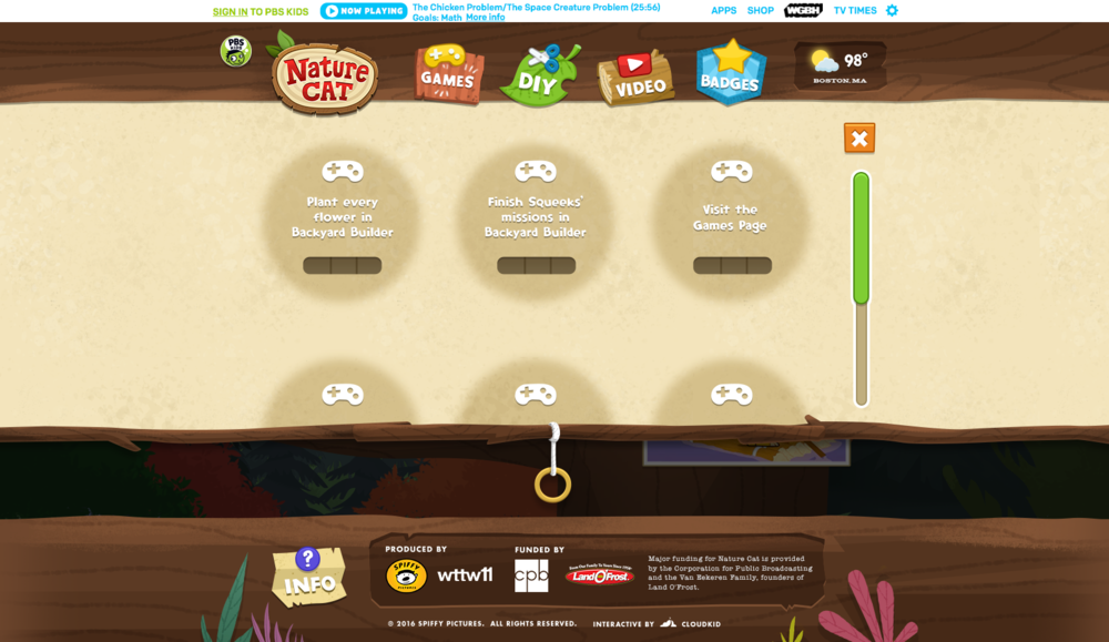 "Badges Page: Users take part in Nature Cat ""missions"" (digital scavenger hunts) by consuming specific content to earn unlockable badges (achievements)"