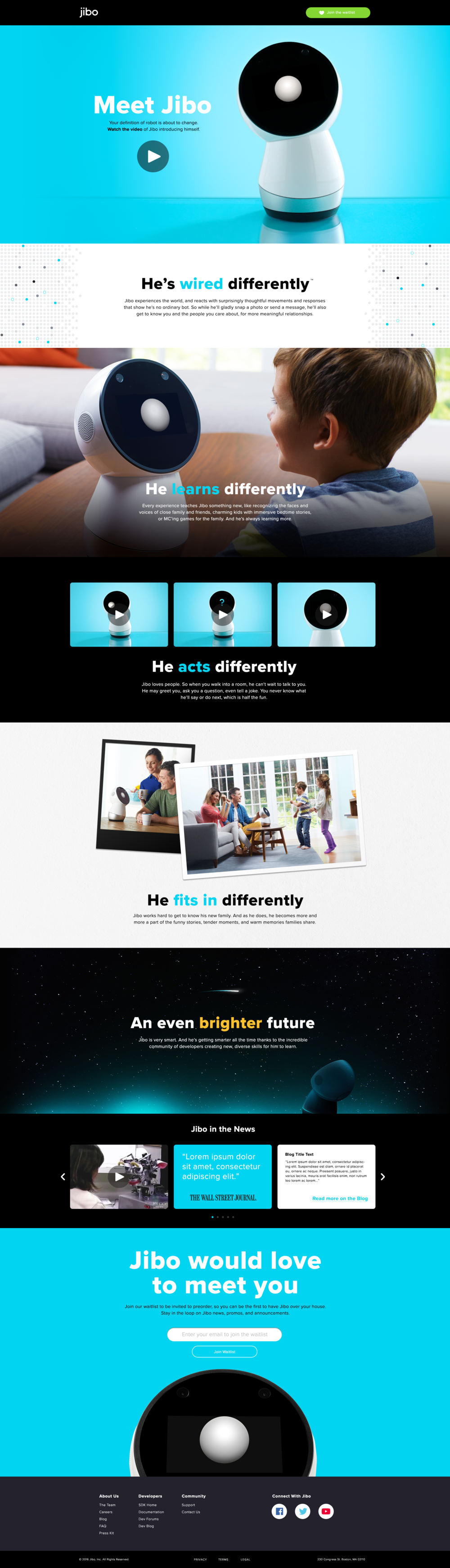 Worked closely with marketing, developers to design Jibo's pre-launch website