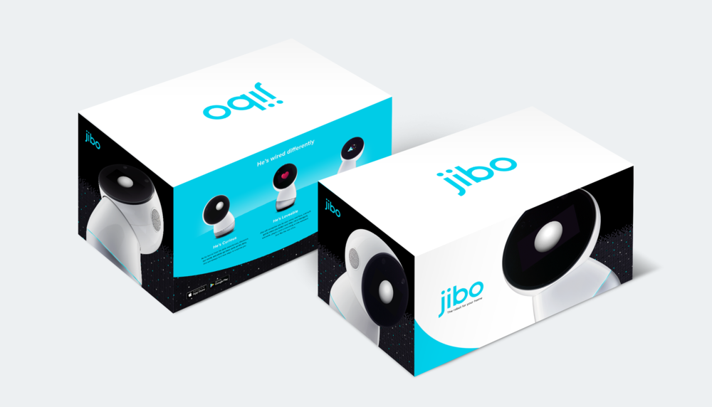 Front and back views of the package designed for Jibo