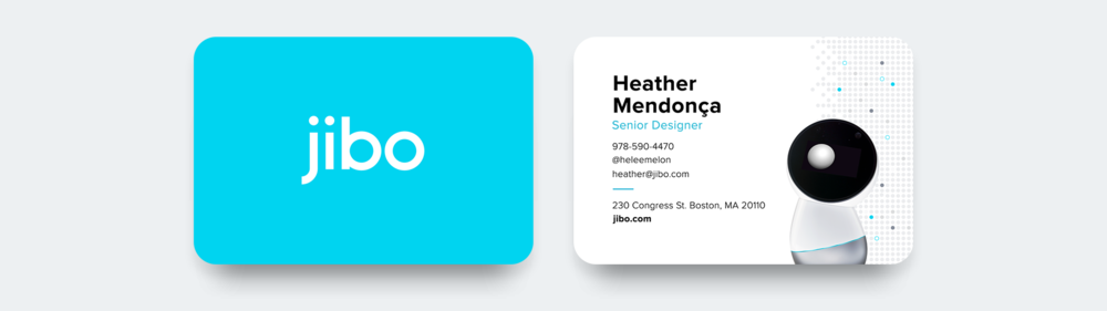 Front and back views of designed business card