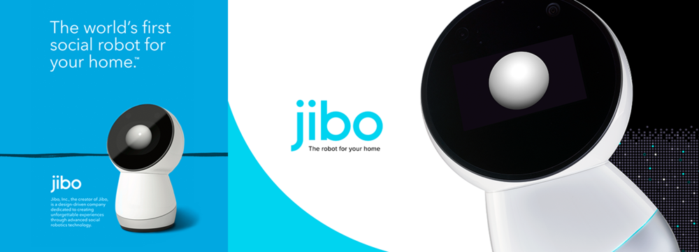 Jibo's old brand style (left) compared to my redesign (right)