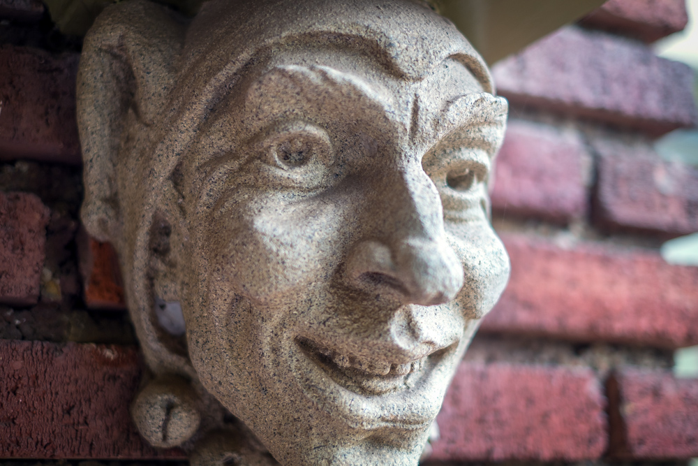 One of 50 Stone Heads Mounted on the MacGowan Mansion