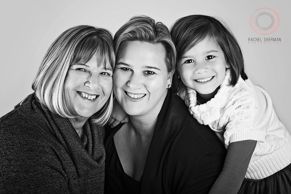 This pic is of me, my mother and my daughter - we took it in the studio on Mothers' Day.  I set everyone up with the correct lighting and poses and used the remote to take the shot.  It's seriously one of my favourite shots ever.