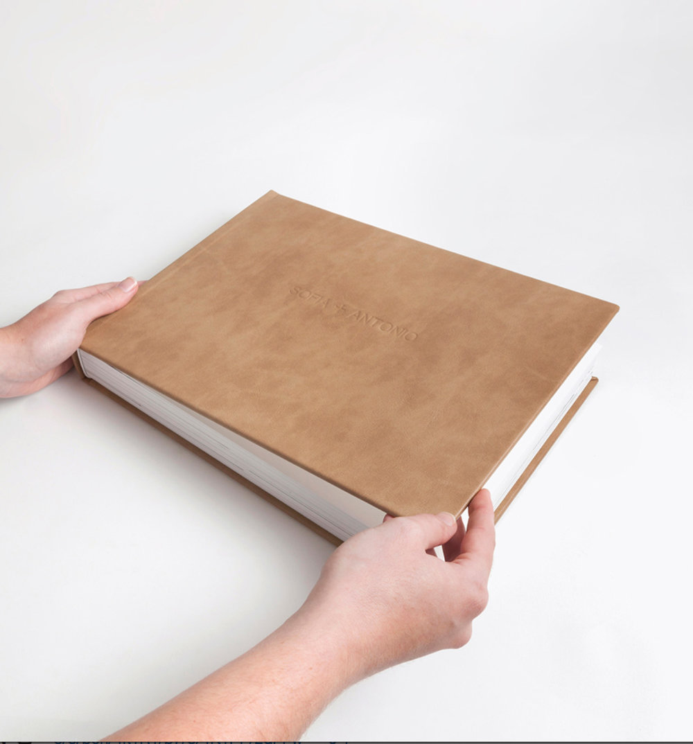 Your name is embossed on the cover which is available in a range of colours and materials.