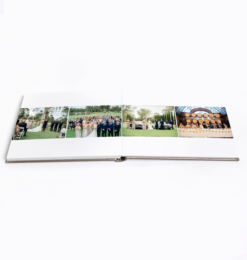 Images are printed directly on the page for a clean, minimalist look.