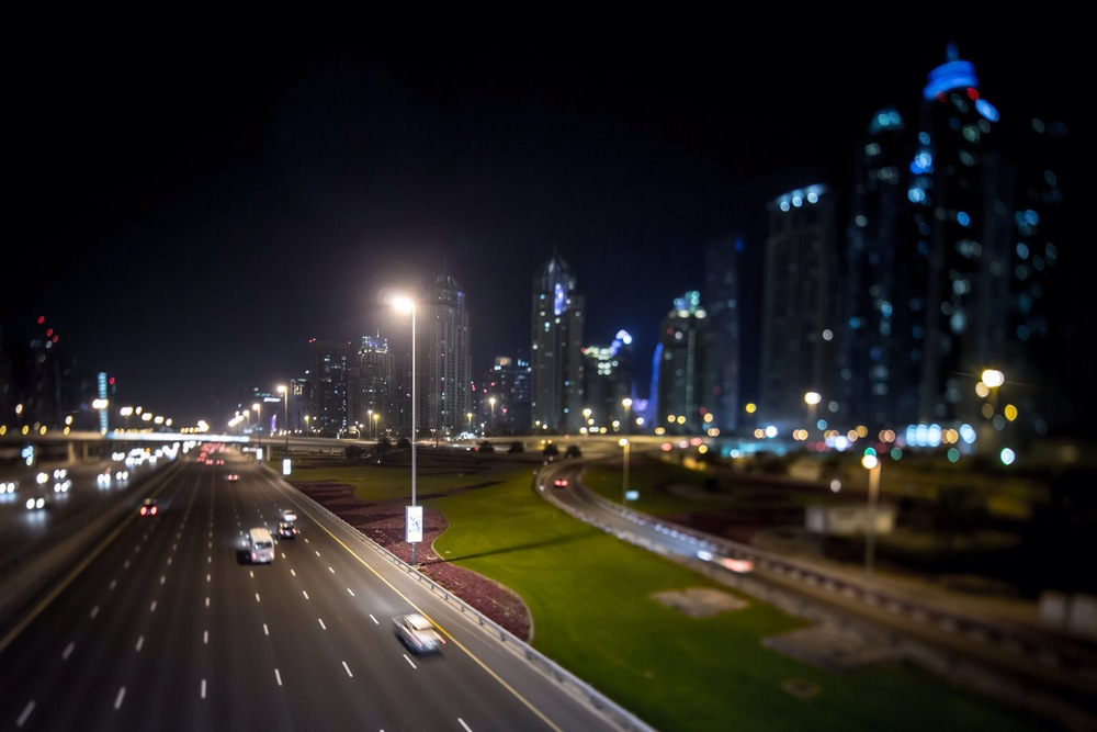 Sheikh Zayed road passing by the Dubai Marina