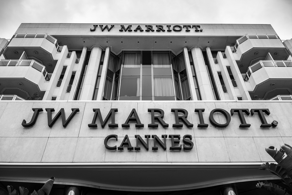 Front of...you guessed it. JW Marriott Cannes
