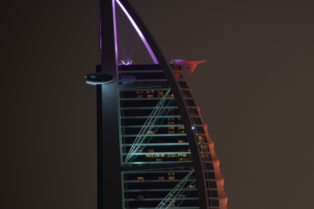 Shooting 20 second exposures at 500mm is no easy task...things have to be absolutely still.  You can see the motion blur on the left side oval platform of the Burj Al Arab.