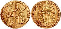 Venezianischer Golddukat (Zecchine) um 1400. Liz. Creative Commons