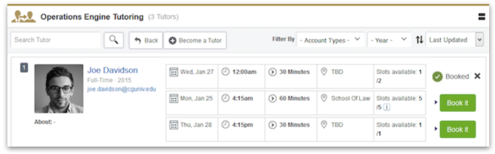 students can view bookings available