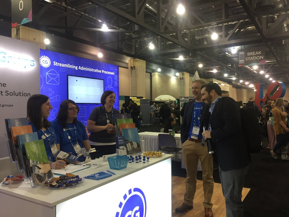 Once the conference was underway, the CampusGroups booth became a popular place to spend time. (It may have helped that the nearby Break Station was frequently restocked with cookies and pastries.)