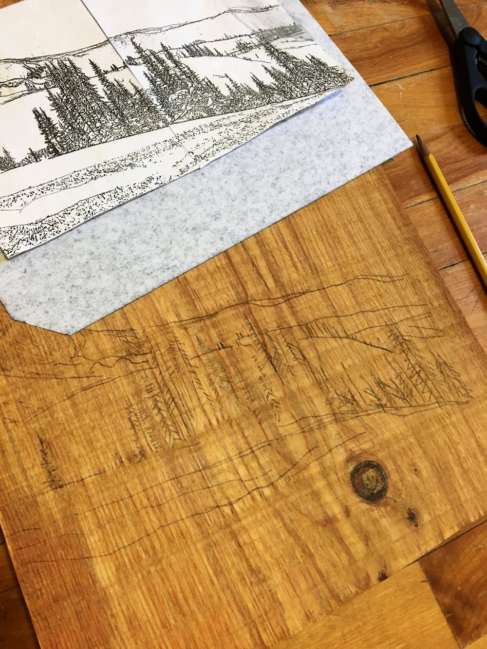 Step 3: Trace Over Your Design With The Wood Burning Pen. You Can  Experiment With Different Tips For Different Intensities And Textures.