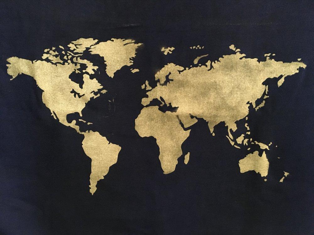 stenciled world map tapestry rapid resizer print full size arts. Black Bedroom Furniture Sets. Home Design Ideas