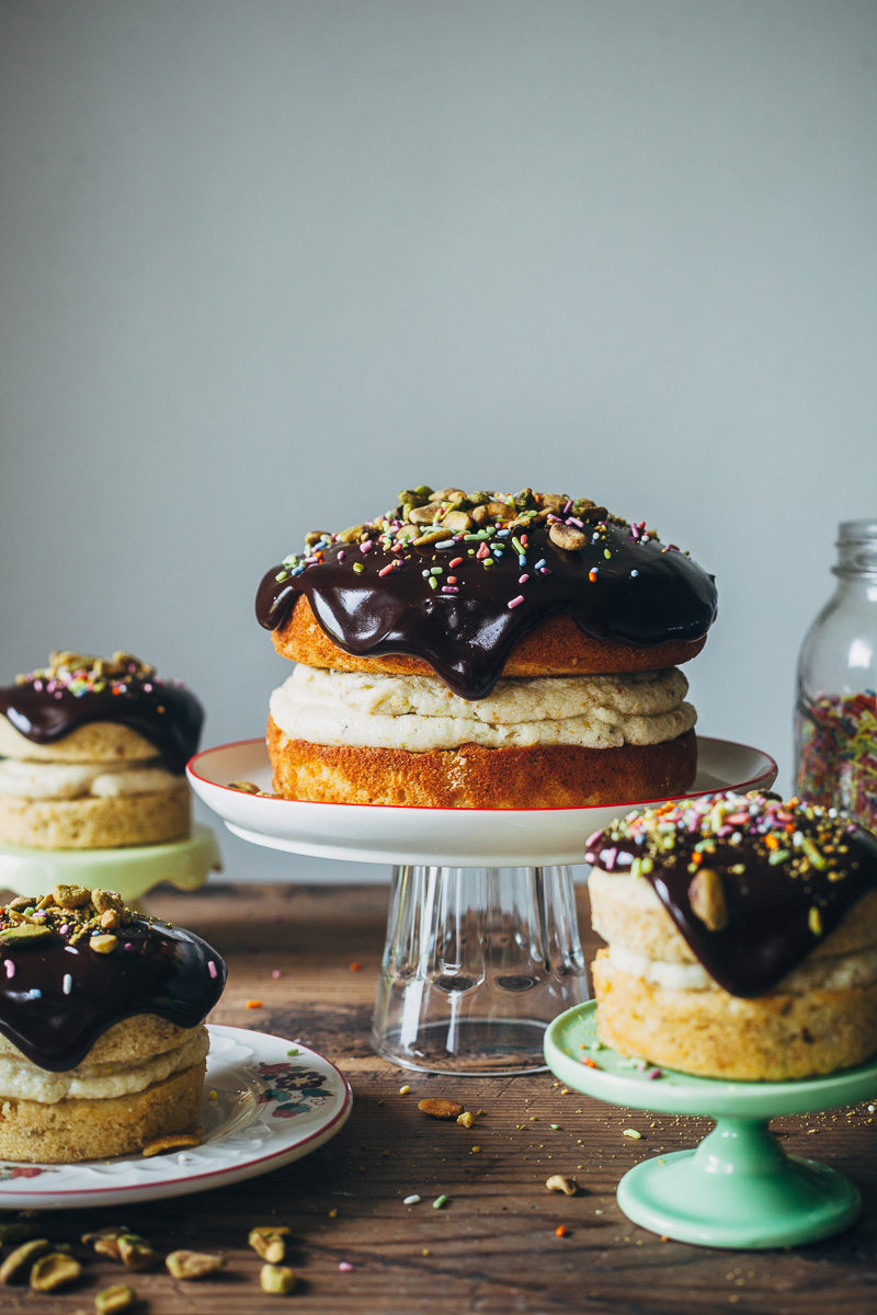 pistachio cream cake with chocolate ganache + a giveaway — molly yeh