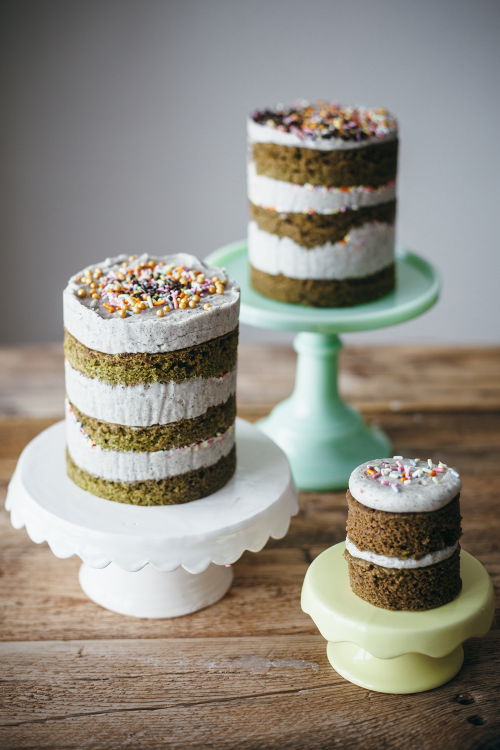 matcha cake with black sesame buttercream molly yeh. Black Bedroom Furniture Sets. Home Design Ideas