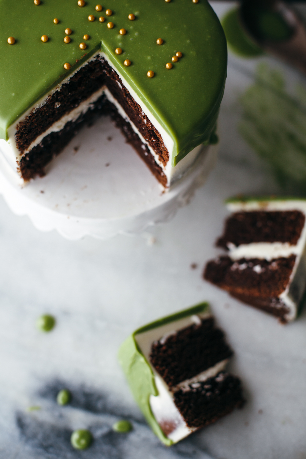matcha white chocolate ganache molly yeh. Black Bedroom Furniture Sets. Home Design Ideas