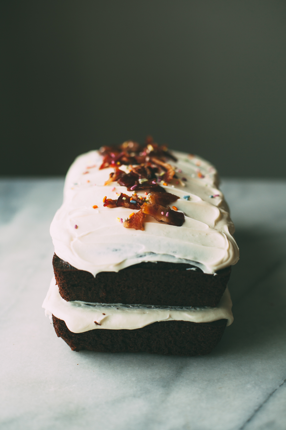 chocolate olive oil cake with candied bacon — molly yeh