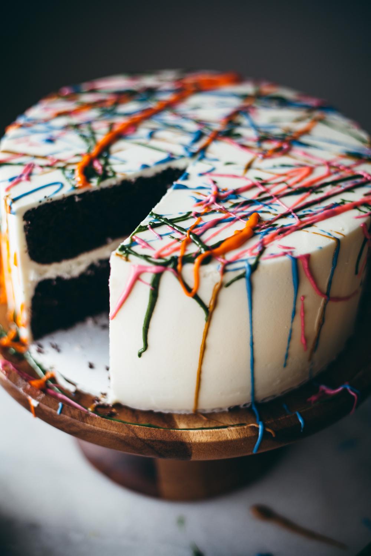 chocolate chili splatter paint cake