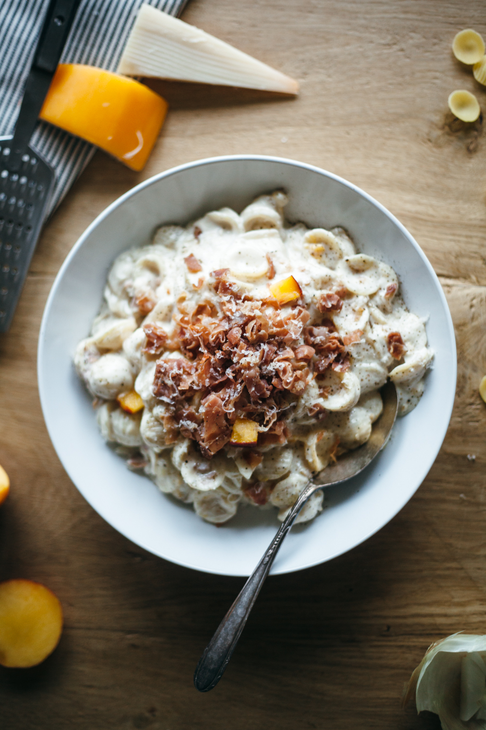 gouda mac and cheese with peaches and prosciutto — molly yeh
