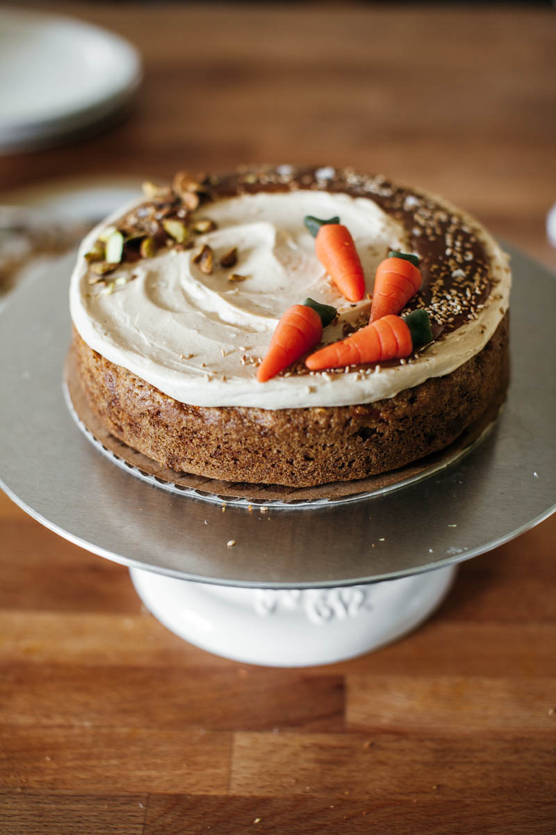 Carrot Cake With Hawaij And Tahini Caramel Frosting Molly Yeh
