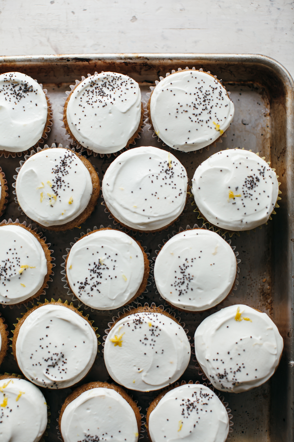 maple tahini cupcakes with labneh frosting