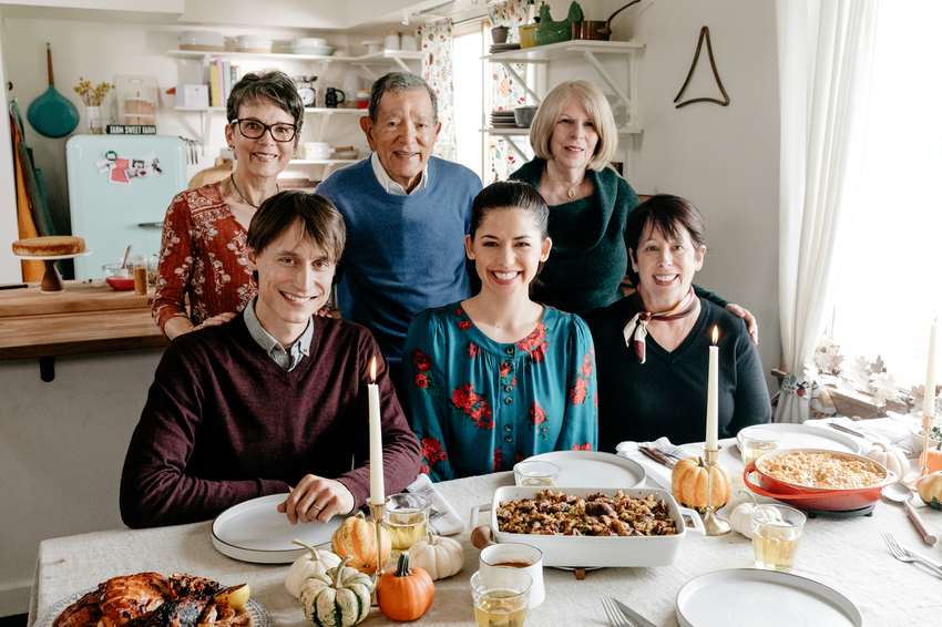 Molly Yeh with her special guests, Roxanne, Marsha, Bob, Nick, and Jody, at her Thanksgiving Meal.jpeg