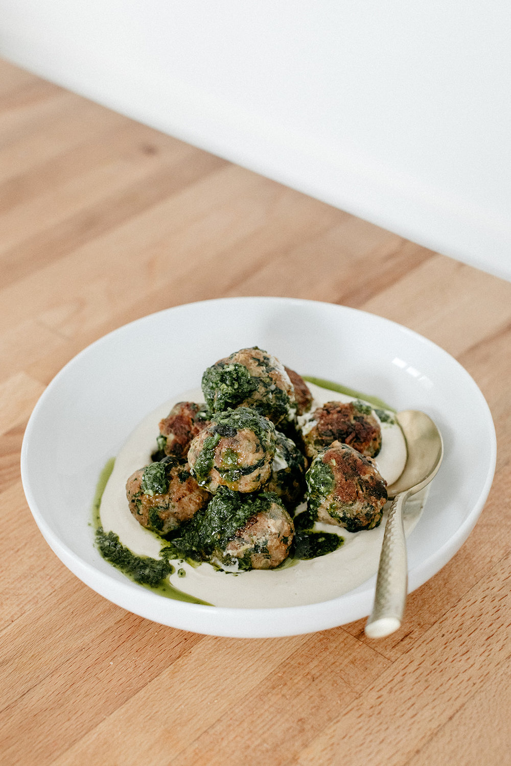 Turkey Spinach Meatballs with Tahini and Chimichurri